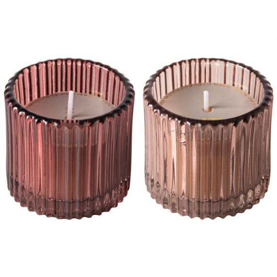Kaarsen ribbelglas roze - set 2 stuks