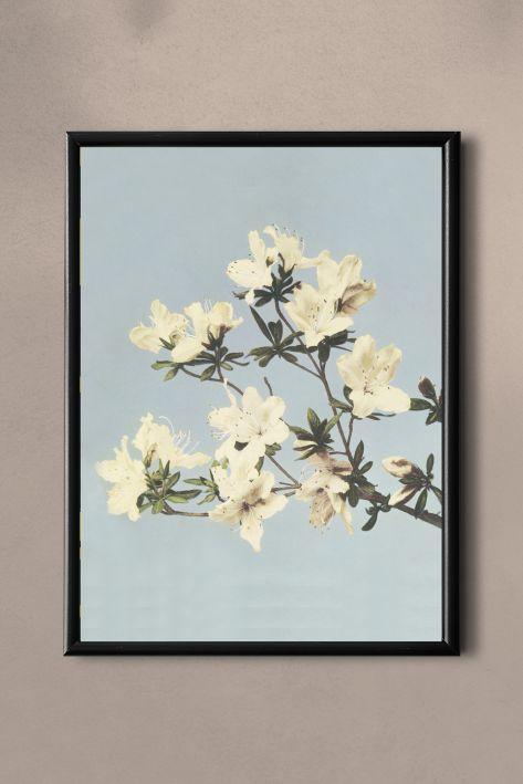 PAND LABEL KAART A5    JAPANS FLOWER BLUE