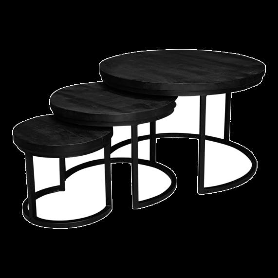 Industriële salontafel set zwart| mango hout