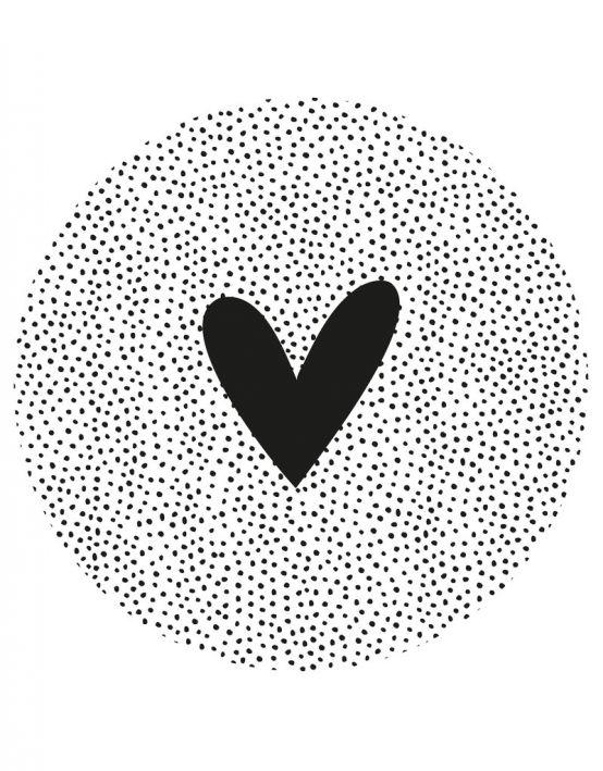 Muurcirkel/tuincirkel wit met zwarte dots en hart