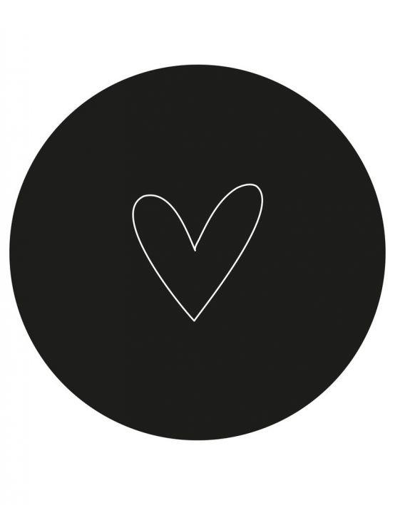 Zoedt Muurcirkel/tuincirkel zwart met wit hart