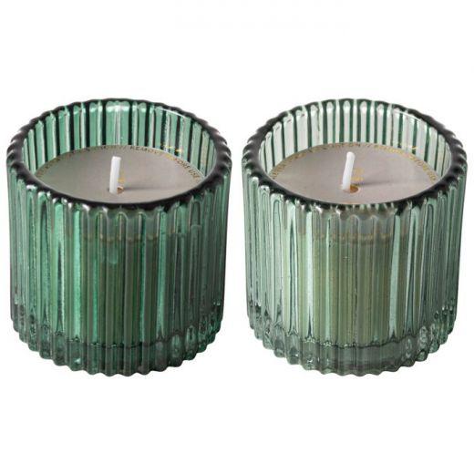 Kaarsen ribbelglas groen - set 2 stuks