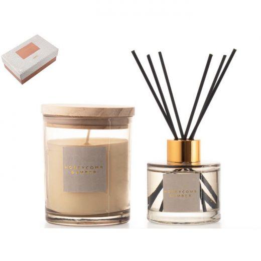 Giftset Kaars/Diffuser Honey&Amber