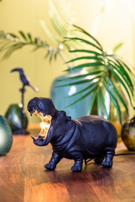 Light & living Tafellamp HIPPO groot mat zwart