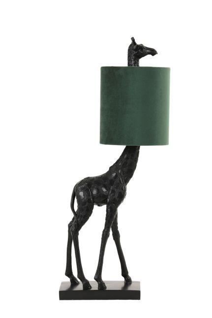 Light & Living Tafellamp GIRAFFE zwart velvet donker groen