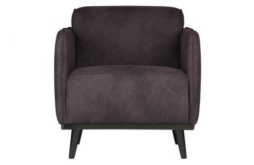 Statement fauteuil met arm eco leer grijs
