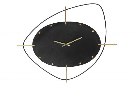 Two o'clock wandklok metaal zwart