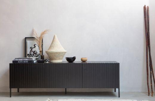 Gravure tv meubel grenen zwart [fsc]
