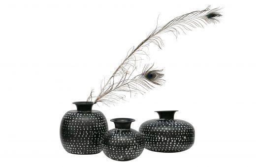 Emori vaas metaal zwart/wit 23xØ24cm