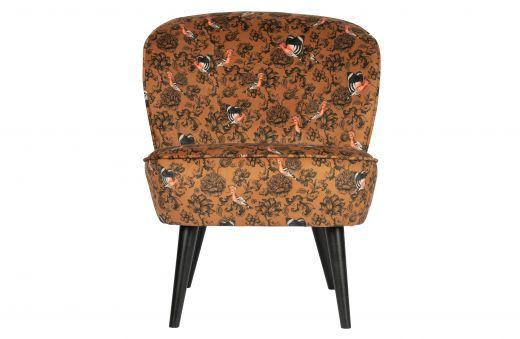 Sara fauteuil fluweel fenix print