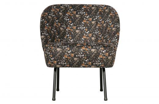 Vogue fauteuil fluweel aquarel flower zwart