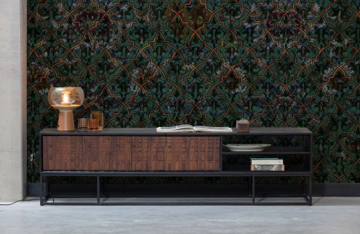 Nuts tv meubel hout walnoot/zwart