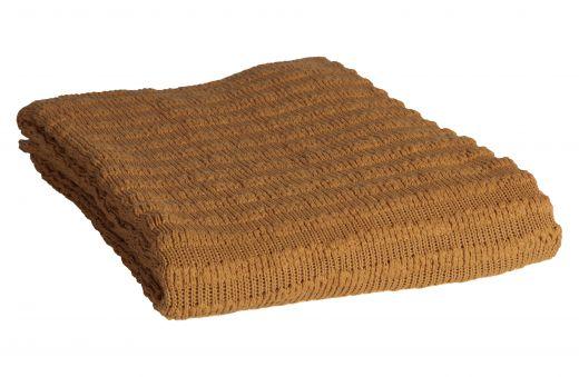 Waving gebreid plaid fudge 130x170