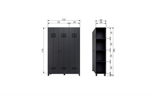 Opberggigant vt locker 3-drs mat zwart [fsc]