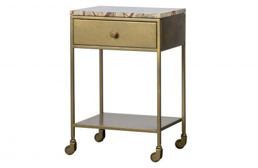 Clinic nachtkastje marmer antique brass
