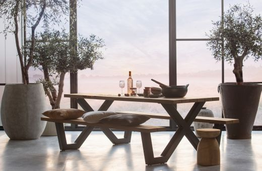 Tablo outdoor picknicktafel naturel met x-poot metaal [fsc]