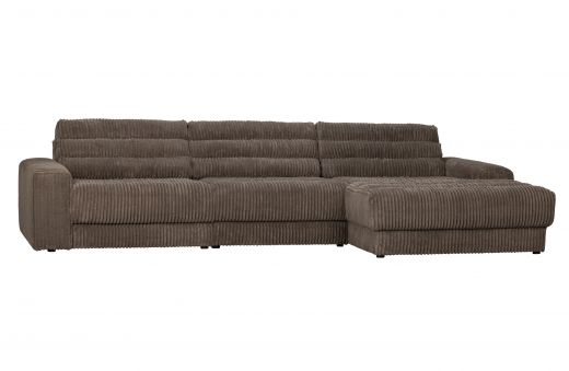 Date chaise longue rechts grove ribstof mud