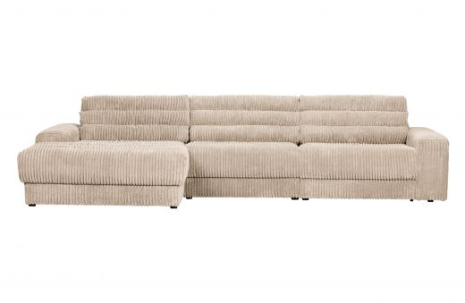 Date chaise longue links grove ribstof naturel