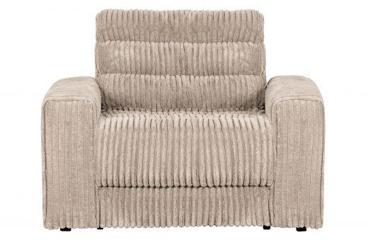 Date fauteuil grove ribstof naturel