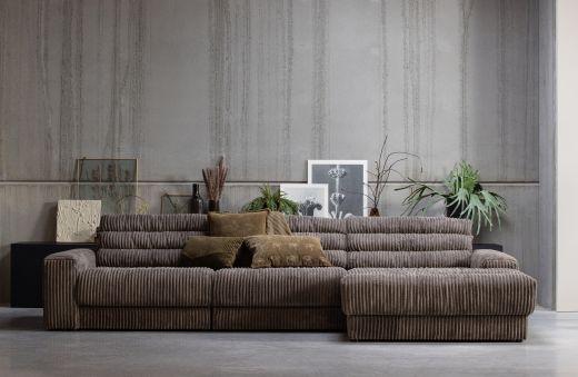 Date chaise longue rechts grove ribstof terrazzo