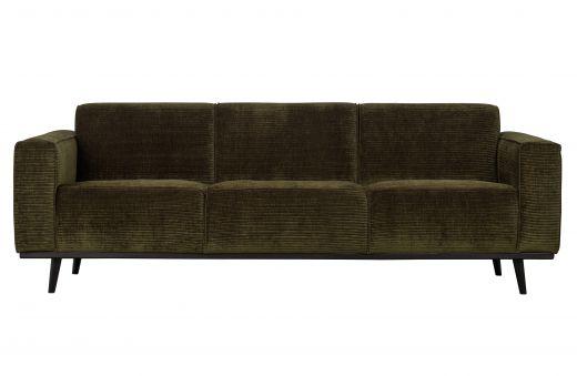 Statement 3-zits bank 230 cm brede platte rib warm groen
