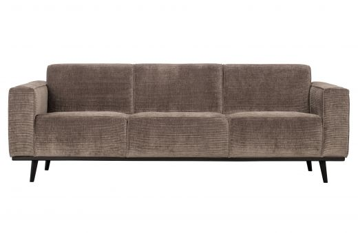 Statement 3-zits bank 230 cm brede platte rib taupe
