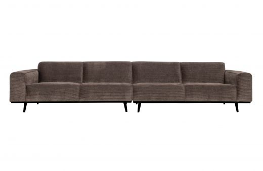 Statement xl 4-zits bank 372 cm platte brede rib taupe