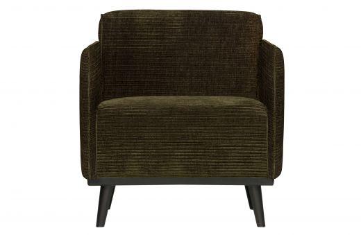 Statement fauteuil met arm brede platte rib warm groen