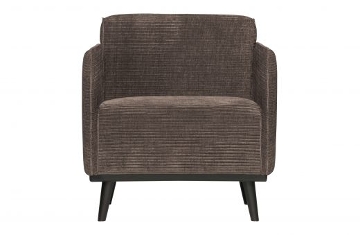 Statement fauteuil met arm brede platte rib taupe