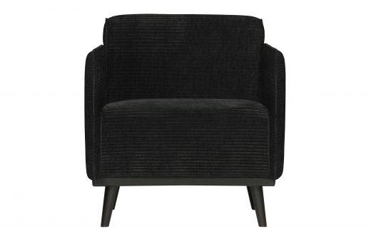 Statement fauteuil met arm brede platte rib graphite