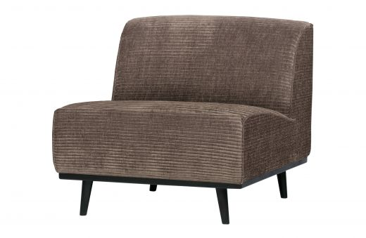 Statement fauteuil brede platte rib taupe