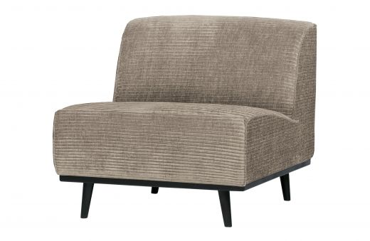 Statement fauteuil brede platte rib clay