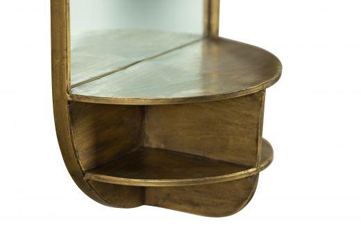 Look a like spiegel met planchet  antique brass