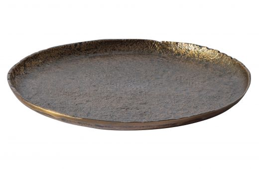 Set v 2 - serving plate dienblad metaal antique brass