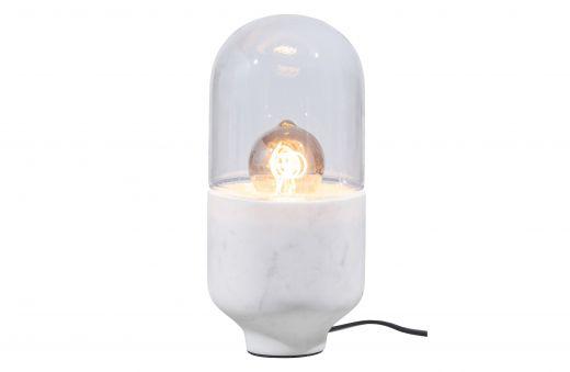 Asel tafellamp marmer glas off white
