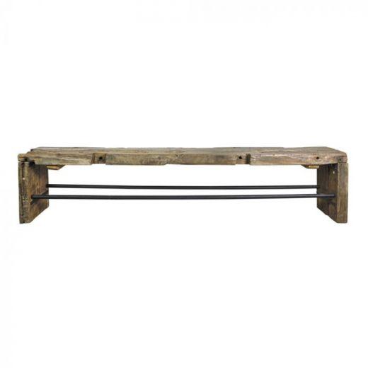 Bankje lang vintage hout Ravi