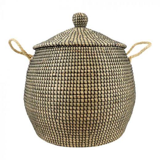 Basket seagr.with lid black Naya XL
