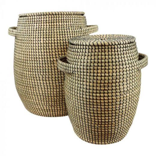 Basket seagr.with lid black Lux Set 2