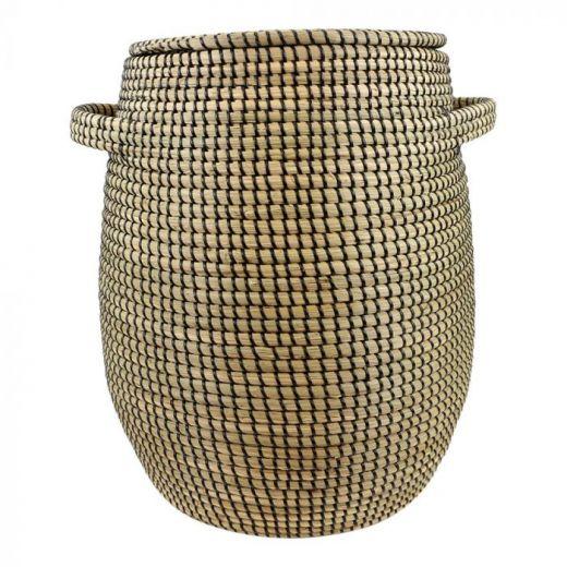 Basket seagr.with lid black Lux XL