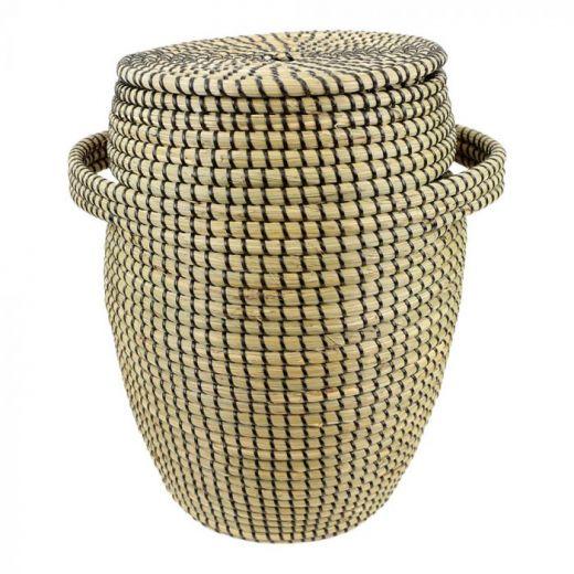 Basket seagr.with lid black Lux L