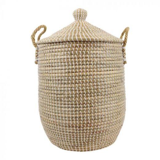 Basket seagr.with lid white Emma L