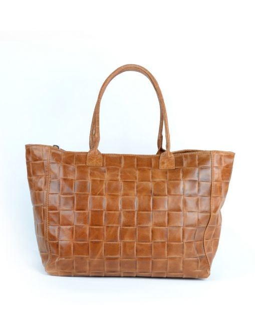 WAVE Lederen shopper - camel
