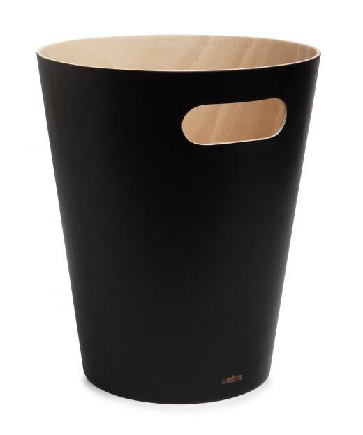 Umbra Woodrow houten afvalbak grijs