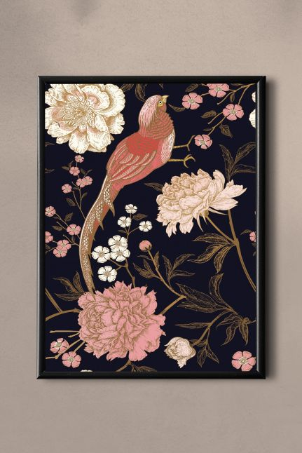 PAND LABEL KAART A5 |  VINTAGE FLOWER BIRDS PINK
