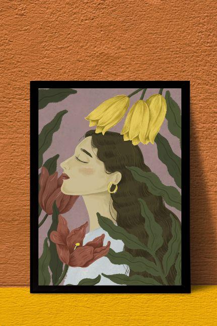 Vintage flower women interieur kaart  | A4