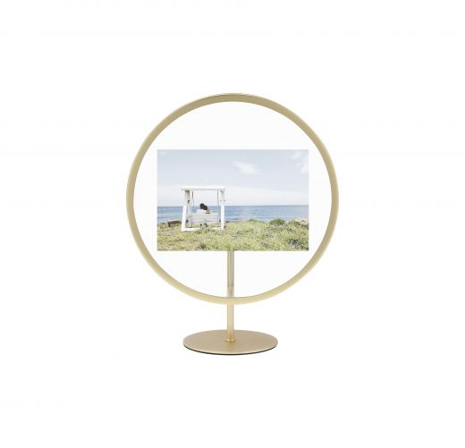 Umbra Infinity Round Picture Frame for 4x6 Photos, Matte Brass
