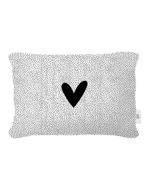 Buitenkussen zwart wit dots patroon en hart
